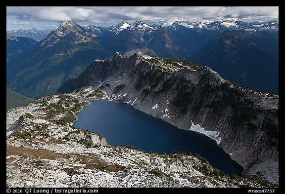 Hidden Lake and Glacier Wilderness Peaks, North Cascades National Park.  (color)