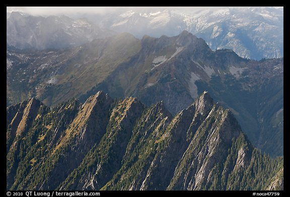 Steep forested spires in foggy light, North Cascades National Park.  (color)