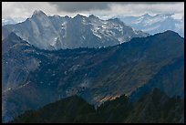 Distant ridges in storm light, North Cascades National Park. Washington, USA. (color)