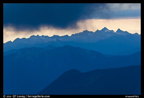 Storm clouds over layered ridges, North Cascades National Park.  (color)