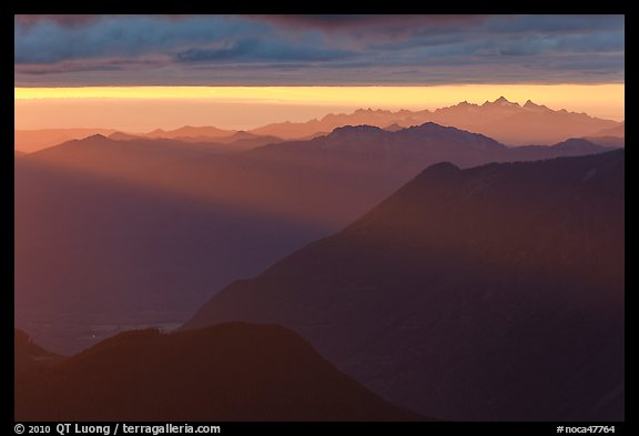 Layered ridges at sunset, North Cascades National Park.  (color)