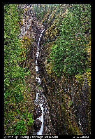 Gorge Creek Falls in autumn, North Cascades National Park Service Complex.  (color)