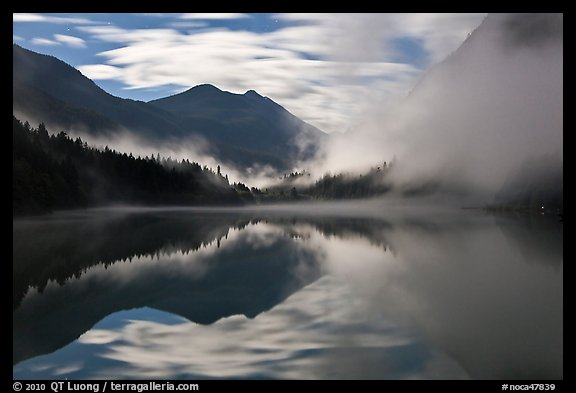 Moonlit fog, Diablo Lake, North Cascades National Park Service Complex.  (color)