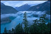 Diablo Lake and fog, dawn, North Cascades National Park Service Complex. Washington, USA.