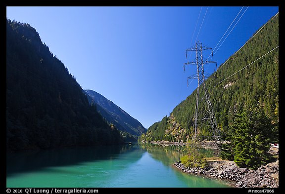 Gorge Lake and power lines,  North Cascades National Park Service Complex.  (color)