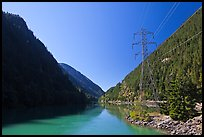 Gorge Lake and power lines,  North Cascades National Park Service Complex. Washington, USA. (color)