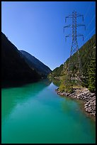 Turquoise waters in Gorge Lake,  North Cascades National Park Service Complex. Washington, USA. (color)