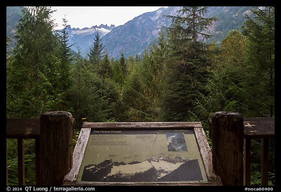 Picket Range interpretive sign, North Cascades National Park.  (color)