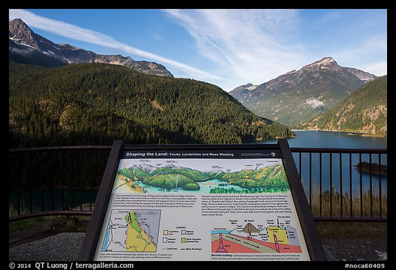 Shaping the Land interpretive sign at Lake Diablo overlook, North Cascades National Park Service Complex.  (color)