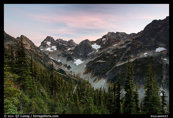 Fisher Creek cirque at sunset, North Cascades National Park.  (color)