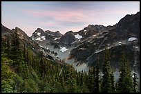 Fisher Creek cirque at sunset, North Cascades National Park.  ( color)