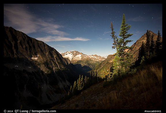 Mount Logan from Easy Pass at night, North Cascades National Park.  (color)