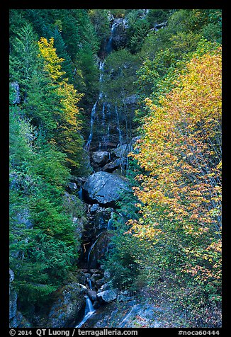 Waterfall in autumn, North Cascades National Park Service Complex.  (color)