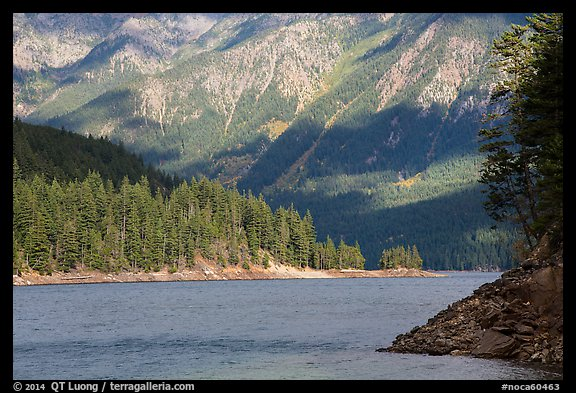 Water-level view of Ross Lake, North Cascades National Park Service Complex.  (color)