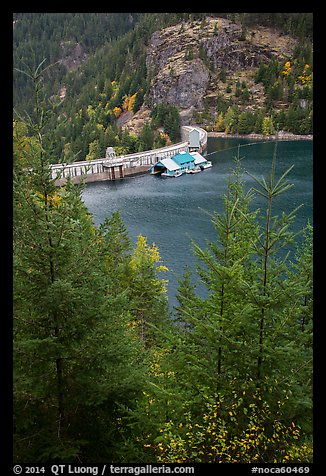 Ross Lake and dam, North Cascades National Park Service Complex.  (color)