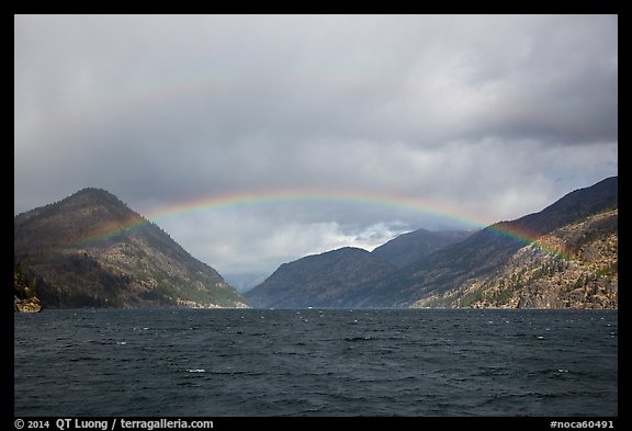 Rainbow over Lake Chelan, North Cascades National Park Service Complex.  (color)