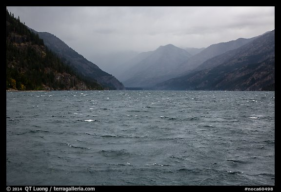 Rain, Lake Chelan, North Cascades National Park Service Complex.  (color)
