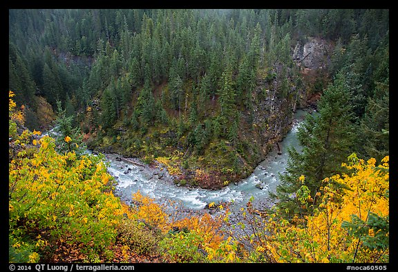 Bend of Agnes Creek from above in autumn, Glacier Peak Wilderness.  (color)