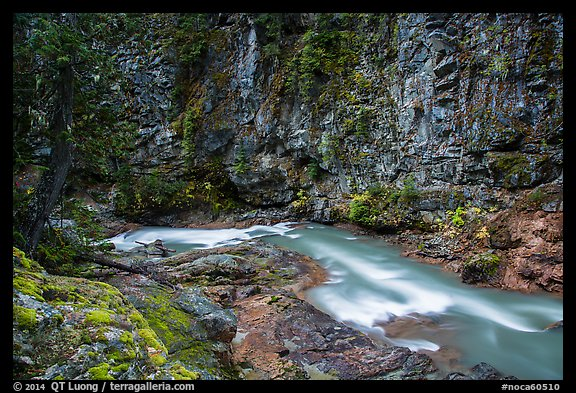 Agnes Creek in Agnes Gorge, Glacier Peak Wilderness.  (color)