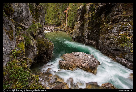 Stehekin gorge below High Bridge, North Cascades National Park.  (color)
