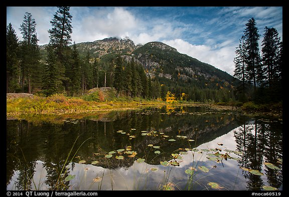 McGregor Mountain reflected in Coon Lake, North Cascades National Park Service Complex.  (color)