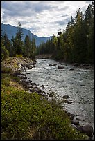 Stehekin River flows in Stehekin Valley, North Cascades National Park Service Complex.  ( color)