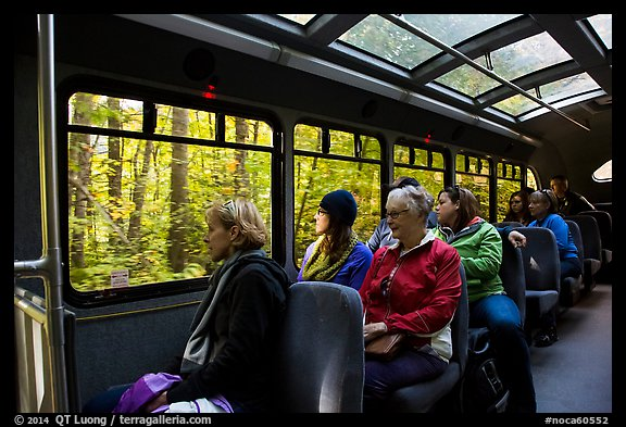 Aboard Stehekin Valley shuttle, North Cascades National Park Service Complex.  (color)