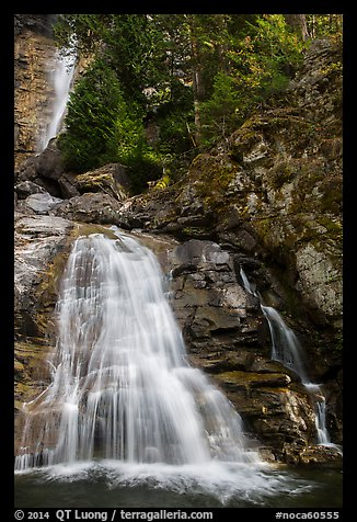 Lower Rainbow Falls, Stehekin, North Cascades National Park Service Complex.  (color)