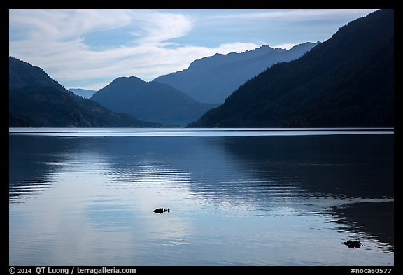 Lake Chelan reflections, Stehekin, North Cascades National Park Service Complex.  (color)