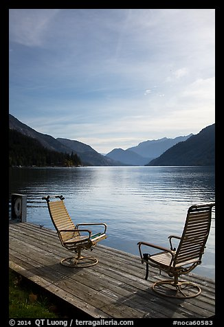Two chairs on the shore of Lake Chelan, Stehekin, North Cascades National Park Service Complex.  (color)