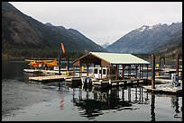 Fuel pump, boat, and floatplane, Stehekin, North Cascades National Park Service Complex. Washington, USA.