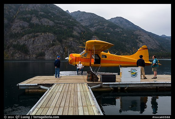 Floatplane and deck, Stehekin, North Cascades National Park Service Complex.  (color)