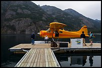 Floatplane and deck, Stehekin, North Cascades National Park Service Complex. Washington, USA.