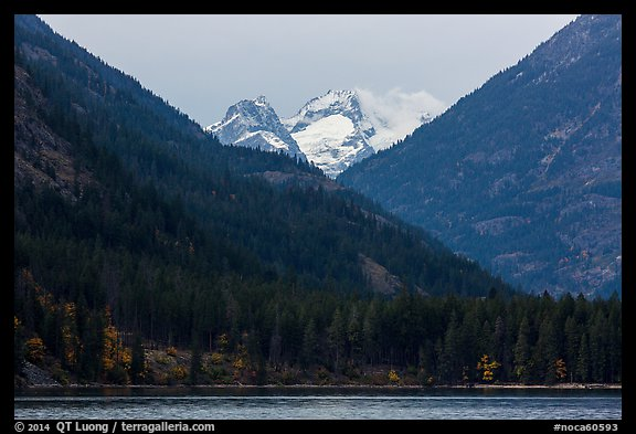 Snowy peaks above Stehekin and Lake Chelan,  North Cascades National Park Service Complex.  (color)