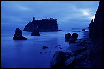 Blue seascape of seastacks at Dusk, Ruby beach. Olympic National Park, Washington, USA.