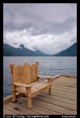 Chair on pier, Crescent Lake. Olympic National Park (color)