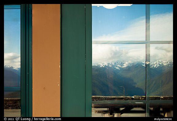 Olympic Range, Huricane Ridge Visitor Center window reflexion. Olympic National Park (color)