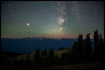 Milky Way over Olympic Mountains. Olympic National Park ( color)
