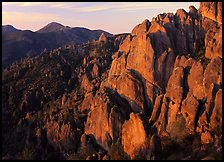 High Peaks with Chalone Peak in the distance, sunrise. Pinnacles National Park ( color)