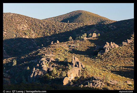 Rolling Gabilan Mountains with rocks and chaparral. Pinnacles National Park (color)
