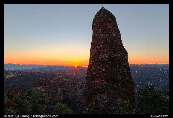 Rock pillar and setting sun. Pinnacles National Park (color)