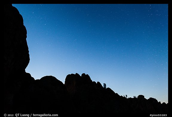 Rocky ridge and stars at twilight. Pinnacles National Park (color)