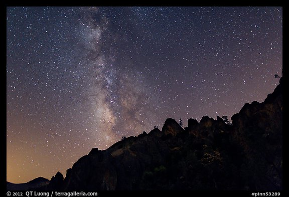 Rocky ridge and star-filled sky with Milky Way. Pinnacles National Park (color)