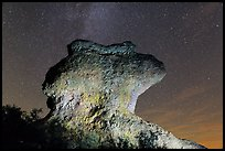Anvil monolith at night. Pinnacles National Park, California, USA. (color)