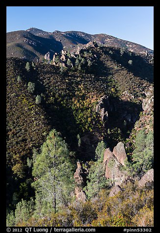 Gabilan Mountains dotted with rock pinnacles. Pinnacles National Park (color)