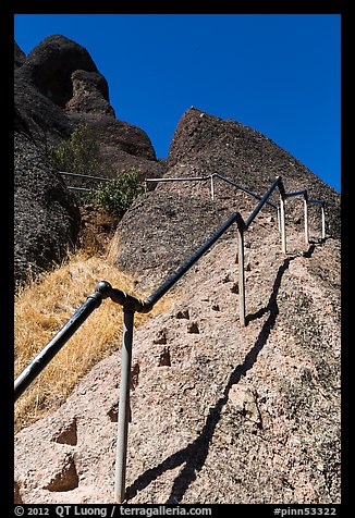 High Peaks trails with stairs carved in stone. Pinnacles National Park (color)