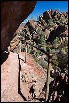 Trail on narrow ledge. Pinnacles National Park, California, USA. (color)