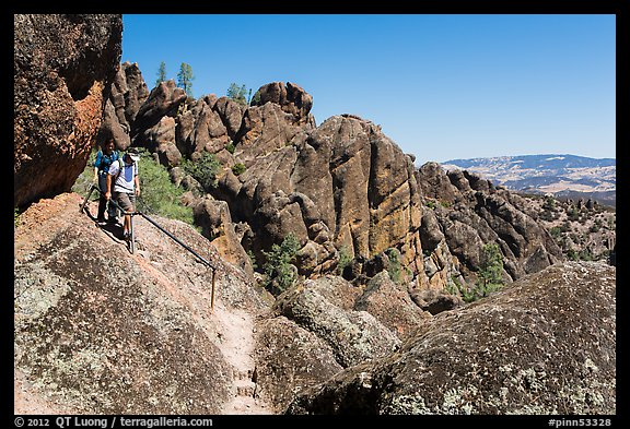 Hikers on rugged section of High Peaks trail. Pinnacles National Park (color)