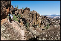 Hikers on rugged section of High Peaks trail. Pinnacles National Park ( color)