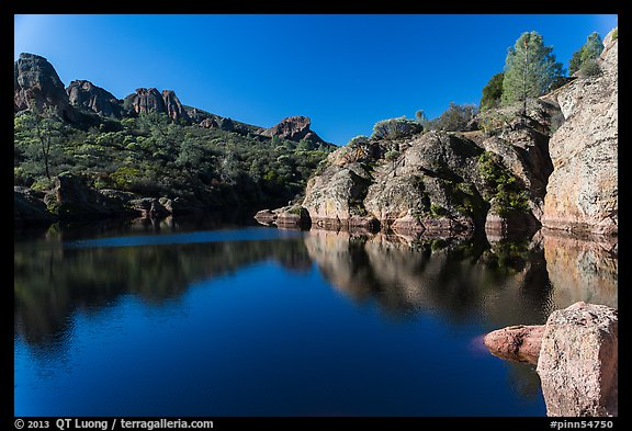 Early morning reflections, Bear Gulch Reservoir. Pinnacles National Park (color)